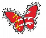 Ripped Torn Metal Butterfly Design With Essex County Flag Motif External Vinyl Car Sticker 125x90mm